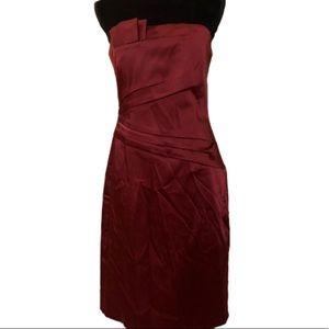 WHBM burgundy red strapless evening dress